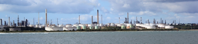 Fawley oil refinery, across Southampton Water. Ruth walks around the coast.