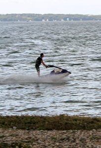 rain and jet skis, Ruth on her coastal walk, Lee-on-the-Solent