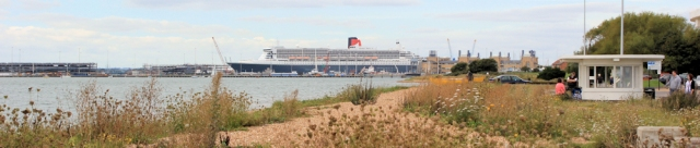 approaching Southampton - Ruth's coastal walk - Queen Mary II in distance