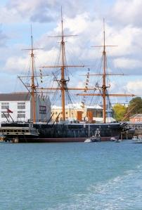 HMS Warrior, Portsmouth, from Gosport Ferry, Ruths coastal walk.