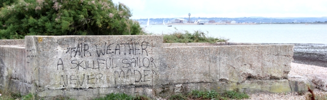 fair weather sign, mouth of River Hamble, Ruth's coast walk