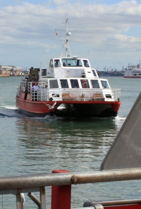 Hythe Ferry arrives in Southampton, Ruth's coast walk