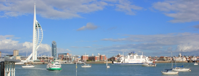 Spinnaker tower from Gosport, Ruth's coastal walk.