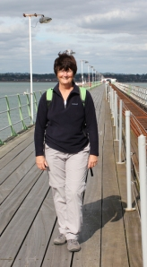Hythe (hampshire) pier and Ruth on her coastal walk