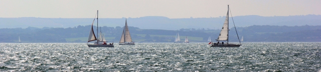 sailing ships, silver sea, Solent, Ruth on her coastal walk.