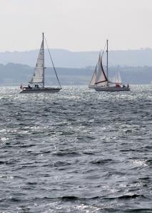 sailing boats, silver sea, from Lepe Beach, Ruth's coastal walk
