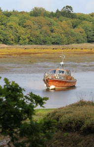 Beaulieu River and boat, Ruth's coastal walk, New Forest