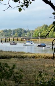 Beaulieu River with boats, Ruth's coastal walk, Hampshire