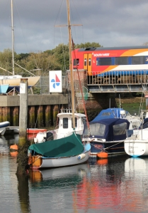 Train and boats - Lymington, Ruth walks around the coast.