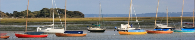 Boats at mouth of Lymington River, Ruth's coast walk.