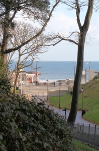 approaching Boscombe Pier, Bournemouth, Ruth's coastal walk