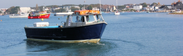 ferry across mouth of Christchurch Harbour, Ruth's coastal walk