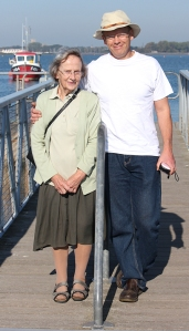 hubby and mother-in-law, Pier at Christchurch. Ruths coast walk