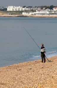 fishing man, Hurst Beach, Ruth walks around the coast.