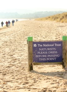 nudist beach sign, Studland Bay, Purbeck, Ruth walking round the coast of the UK
