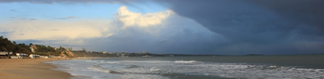 rain clearing, skyscape over Bournemouth, Ruths coast walk