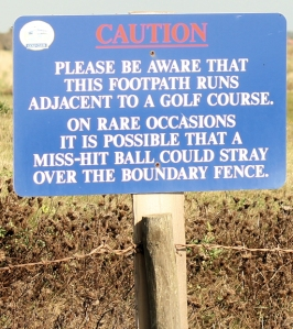 a very polite golf course notice - Barton on Sea, Ruths coastal walk