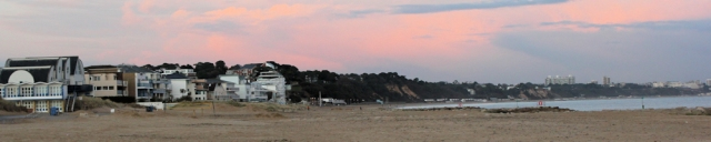 looking back to Bournemouth, sunset, Ruth's coastal walk