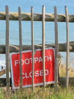 path closed, Christchurch, Hampshire, Ruth tries to walk around the coast.