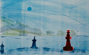 Needles - monoprint - by Tim Baynes, my artist in residence.
