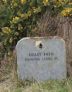 signpost to Dancing Ledges, South West Coast Path, Ruth walking around the UK