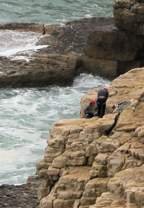 rock climbers on Dancing Ledge, Purbeck, Ruth walks the coastline.