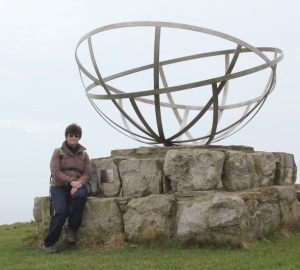 monument - Purbeck Radar - Ruth on her coastal walk, St Alban's Head.