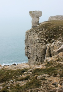 stone monolith - old quarry workings, St Alban's Head, Purbeck. Ruth on the South West Coast Path