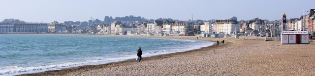 Weymouth Esplanade and beach in morning, Ruth walking the South West Coast Path