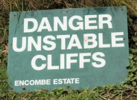 sign - unstable cliffs - Ruth coastal walk, on way to Chapman's Pool, Dorset