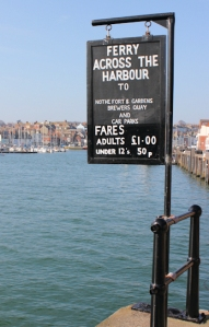 Ferry sign, River Wey, Weymouth, Ruth walking round the coast, Dorset.