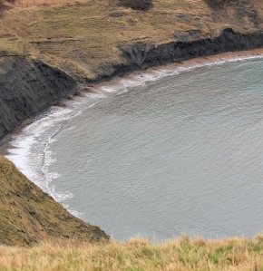 Chapman's Pool, from Houns-Tout Cliff, Ruth walking the coast in Dorset
