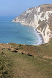 from Swayre Head, White Nothe and Weymouth, Ruth on her coastal walk.