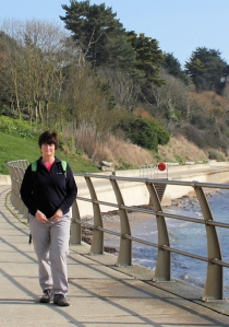 new promenade, Weymouth, Ruth walking round the Coast. Dorset.