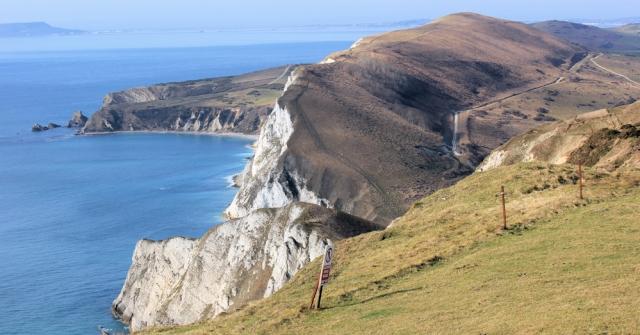 coastal panorama, South West Coast Path, Ruth walking through Dorset