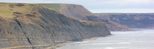 view back to Houns Tout Cliff, Ruth walking the coast, South West Coast Path, Dorset
