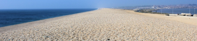 Chesil Beach, Ruth walking round the coast, Dorset
