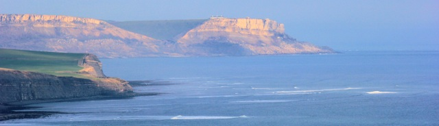 view back to St Aldhelms Head, afternoon sun, Ruth's coastal walk