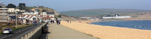 promenade between Weymouth and Bowleaze Cove, Ruth walking the coast in Dorset