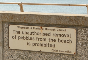 sign, Portland, Chesil Beach, Ruths walk in Dorset