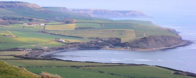 Kimmeridge - view down into bay. Ruth walks around the coast of the UK.