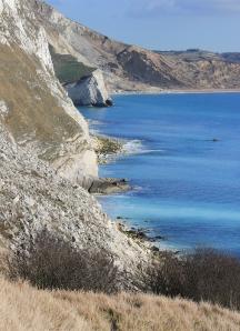 view Mupe Bay, Ruth walking round the coast, Dorset