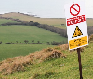 Lulworth Ranges, Kimmeridge. warning sign. Ruth walks the coast.