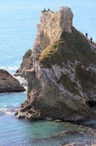 climbers on Mupe Rocks, Ruth's coastal walk, Dorset coast