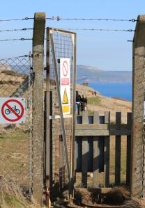 exit Lulworth Ranges, Ruth's coastal walk, South West Coast Path