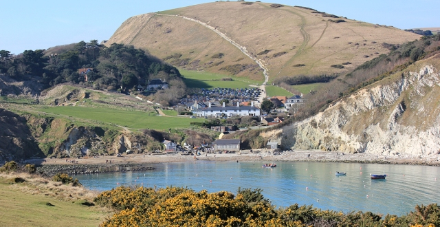 Lulworth Cove, Ruth on her coastal walk, Dorset