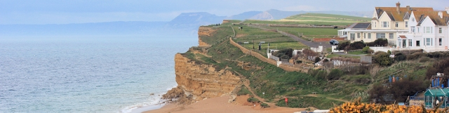 Burton Bradstock, Ruth on her walk around the coast, Dorset