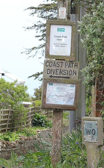diversion signs, South West Coast Path, Charmouth - Ruth's coastal walk