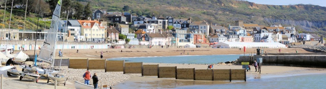 Lyme Regis, from west end, Ruth on her walk around the coast.