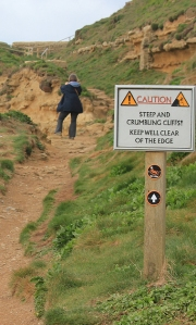 steep cliff sign, Burton Cliff, Ruth walks around the coast of the UK